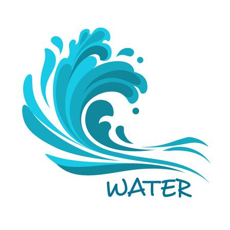 olas de mar: Las olas del mar tormentoso de estrellarse sobre la playa símbolo abstracto, por naturaleza o diseño ecología Vectores