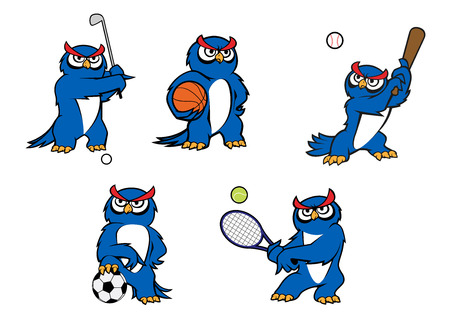 Blue cartoon owl characters playing golf, basketball, baseball, football and tennis with sports items for mascot design