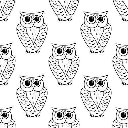 horned: Great horned outline owl  seamless pattern with stylized striped feathers
