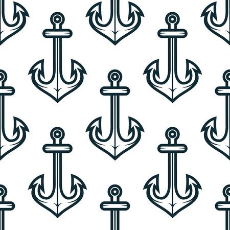 fluke: Nautical seamless pattern with old ship anchors on white background, for marine background design Illustration