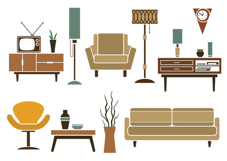 retro furniture: Retro furniture and interior icons in flat style with sofa and armchairs, chests of drawers and table, tv and interior accessories, floor lamps and vase isolated on white background