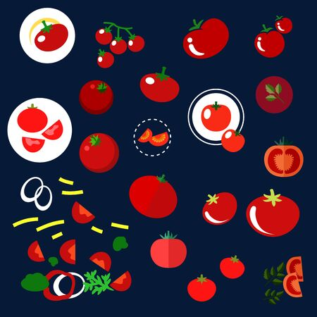 chopped: Ripe fresh red tomatoes vegetables in flat style with whole, halves and slices of garden tomatoes with green stalks, branch of sweet cherry tomato, chopped tomatoes and vegetables with parsley sprigs