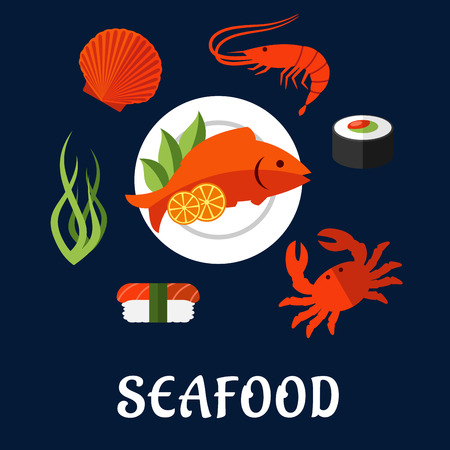 shellfish: Seafood delicatessen icons in flat style with shrimp, sushi roll, crab, sushi nigiri, seaweed and shellfish, served on plate with lemon slices and salad leaves Illustration