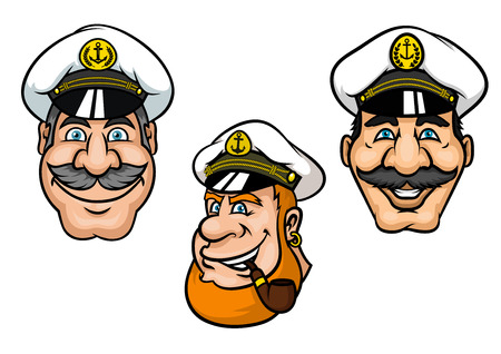 peaked cap: Ship captains in cartoon style with cheerful smiling men with gray moustaches, with white peaked caps and tobacco pipe for nautical mascot or tattoo design