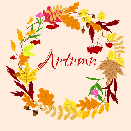 autumnal: Autumnal wreath frame with colorful leaves, branches of oak with acorns and bunches of berry in warm colors on background