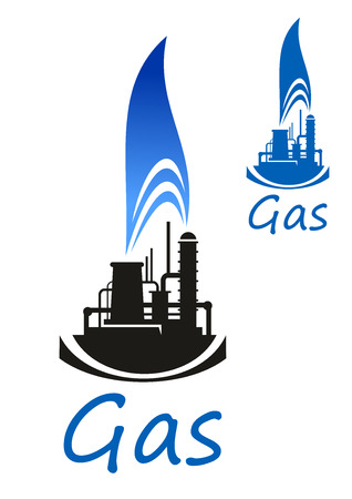 petroleum blue: Gas and oil industry icon with chemical industrial plant or factory black silhouette with blue flame of natural gas, isolated on white background