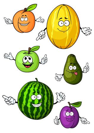 manzana verde: Saludables de dibujos animados verdes de manzana, aguacate, sand�a, albaricoque, mel�n y ciruela frutas personajes con caras divertidas, para la agricultura o la nutrici�n de dise�o Vectores