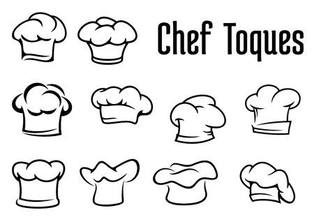 요리사 또는 베이커 흰색 toques, 카페 메뉴 나 레스토랑 컨셉 디자인, 흰색 배경에 고립 개요 스타일의 모자와 모자