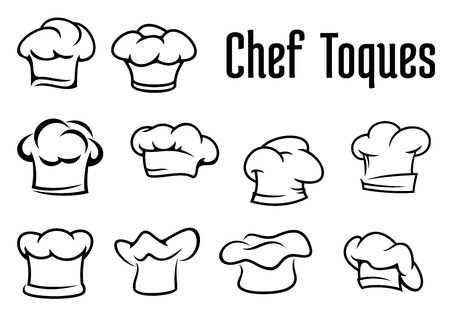 logos restaurantes: Cocinero o panadero blanco gorros, gorras y sombreros en el estilo de contorno aisladas sobre fondo blanco, para el menú de cafetería o restaurante concepto de diseño Vectores