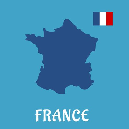 corsica: Map of France and national flag icon in the upper corner, for education or travel concept design. Flat style