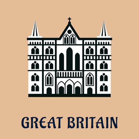 abbey: Great Britain architectural landmark flat icon of majestic cathedral church in gothic style with arched windows