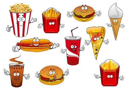 Take away food cartoon characters with happy smiling faces depicting pizza slice, coffee and soda paper cups, french frie and popcorn boxes, hot dog, burgers and ice cream cone
