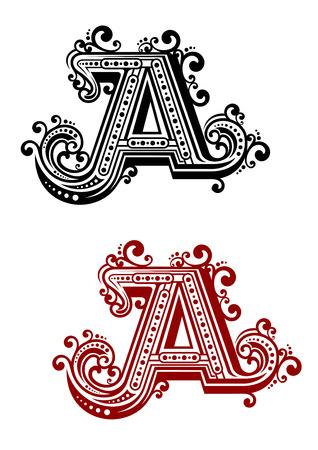 Vintage hoofdletter A in rode en zwarte kleur variaties met decoratieve bloeit in Victoriaanse stijl, op een witte achtergrond, voor monogram of doopvontontwerp