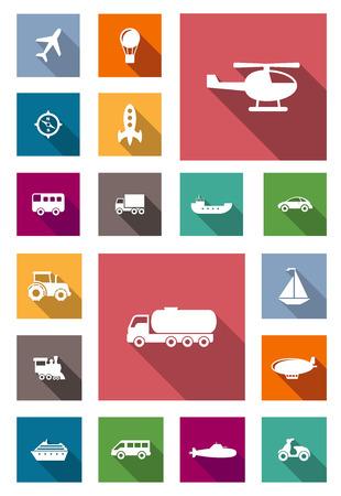 はしけ: 長い影飛行機、熱気球、バス、トラック、車、船、バイク、トラクター、ヘリコプター、機関車を含む車のタンクに空気、土地、水輸送のフラット アイコン トラック、レッドツェッペリン、ヨット、潜水艦、ロケット、巡航はさみ金