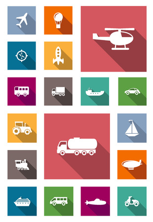 water transportation: Air, land and water transportation flat icons with long shadows including airplane, hot air balloon, bus, truck, car, barge, motorbike, tractor, helicopter, locomotive, car tank truck, zeppelin, yacht, submarine, rocket and cruise liner Illustration