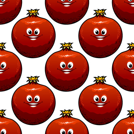 pomegranat: Seamless pattern with happy cartoon red pomegranate characters on white background
