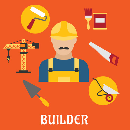 profession: Builder profession concept with man in yellow hard helmet and overalls with tower crane, hand saw, trowel, paintbrush with paint can, wheelbarrow and paint roller flat icons