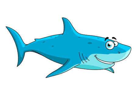 dorsal: Cartoon swimming big shark character with light blue underside and blue spotted dorsal area, isolated on white.May be use in mascot design