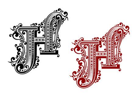 Negro y rojo letra mayúscula H en estilo floral caligráfica con adornos decorativos aislados sobre fondo blanco