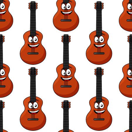 instruments de musique: Happy sourire de bande dessinée personnages de guitare acoustique seamless instruments de musique classiques sur fond blanc