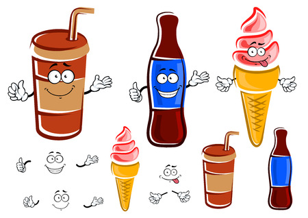 soda bottle: Cartoon funny takeaway paper cup with drinking straw and glass bottle of soda drinks and strawberry ice cream in waffle cone characters Illustration