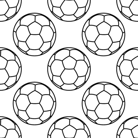soccer balls: Black and white football seamless background pattern with soccer balls in outline style
