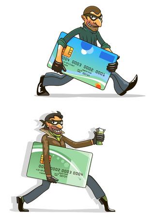 tarjeta de credito: Ladrones o personajes de dibujos animados piratas informáticos con hombres con máscaras negras y guantes, con tarjetas de crédito robadas y dinero. Para el diseño de concepto criminal o fraude por Internet