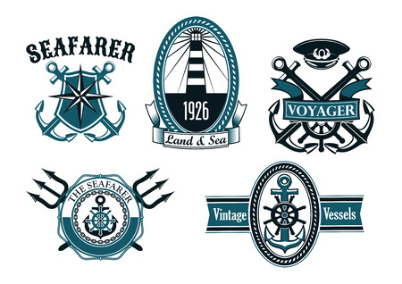 Nautical seafarer, voyager and vintage vessels emblems with anchors, helms, lighthouse, captain cap, compass and tridents framed by shield, ropes, chains with ribbon banners
