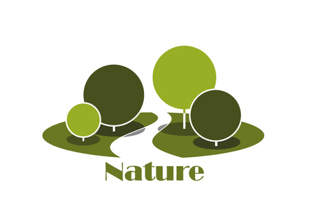 shady: Park abstract icon with shady alley between green lawns and trees, with lush crowns isolated on white background, for nature or landscape design Illustration