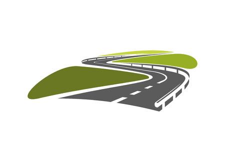 giao thông vận tải: biểu tượng lộ đường cong với kẹp tóc và lan can bằng kim loại để du lịch, vận chuyển thiết kế