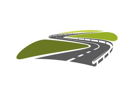 vehicle graphics: Highway road symbol with hairpin bends and metallic guardrails, for travel or transportation design
