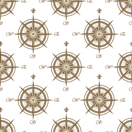 lys: Vintage brown nautical compass seamless pattern with victorian stylized direction marks decorated by fleur de lys ornaments