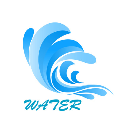 fresh water splash: Sea wave symbol with flowing and curving blue water, isolated on white background