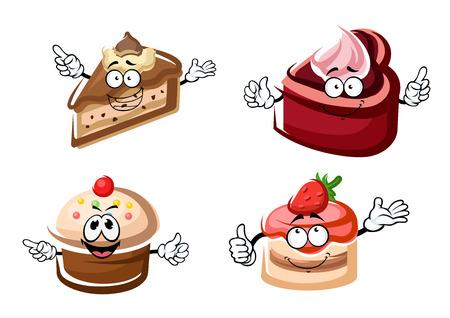 Gâteaux sucrés de dessins animés et personnages de petit gâteau à la vanille et au chocolat, crèmes décorées par givrage fruités, des gaufres et des fraises. Pour la pâtisserie ou de la conception de fête de Noël Vecteurs