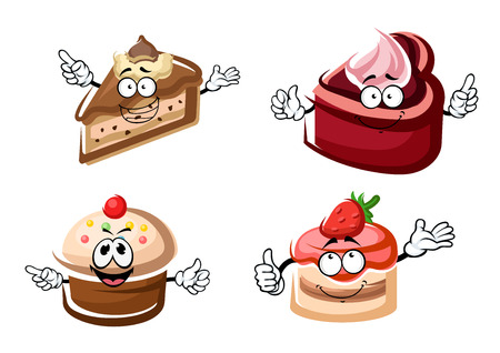 Sweet cartoon cakes and cupcake characters with vanilla and chocolate creams, decorated by fruity icing, waffles and strawberries. For pastry shop or holiday party design Ilustração