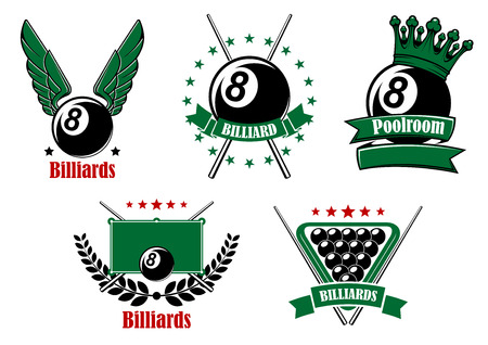 cues: Billiards and pool emblems with black balls, wings and crown, crossed cues, table and triangle rack adorned by stars, wreath and ribbon banners