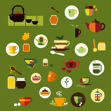 chinese tea pot: Tea time icons in flat style with various cups and mugs, tea bags, leaves and sugar cubes, teapots and french press, honey jars with dippers and honeycomb, ceramic chinese tea sets Illustration