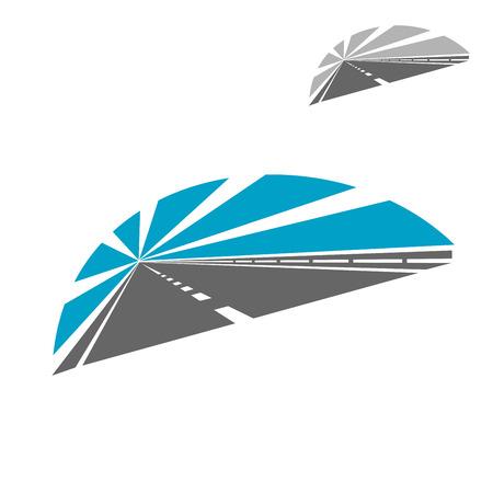 transporte: Ícone da estrada com o céu azul que desaparece na distância a ponto de fuga, para o transporte ou o conceito de viagens