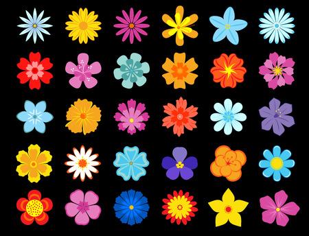 Kleurrijke bloeiende bloemen iconen met madeliefjes, gerbera's, viooltjes, korenbloemen, asters en goudsbloemen op een zwarte achtergrond