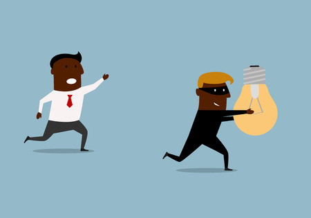 corporate espionage: Black businessman running and chasing thief with a stolen idea in hands, for intellectual property or corporate espionage concept design. Cartoon flat style