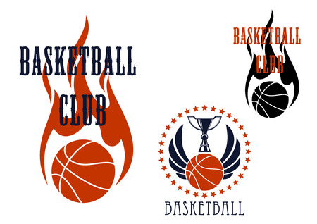 basketball ball on fire: Basketball club icons with trophy cup standing on winged basketball ball encircled by stars, and flaming ball with fire in tribal style
