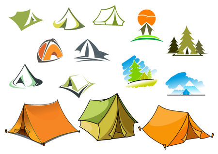 campsite: Tourism and camping symbols with tents and nature landscapes with mountains and forest. For travel and adventure design