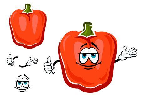 vegetable cartoon: Pimiento dulce car�cter crujiente de dibujos animados de verduras con cara sonriente, aislado en blanco. Para la agricultura o la comida de dise�o