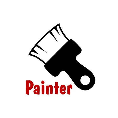 bristle: Paintbrush tool icon with short bristle and wooden handle, isolated on white background