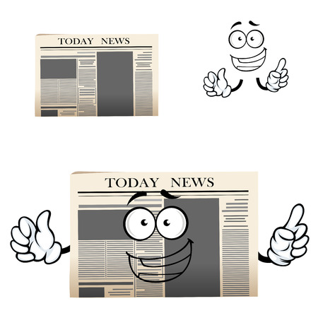Cartoon morning daily newspaper cartoon character with header Today news and happy face showing upward. Isolated on white background Illustration