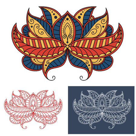 blue petals: Decorative persian paisley flower colored in red, blue and yellow colors with oblique pointed petals adorned by curving lines. For oriental textile or accessories design