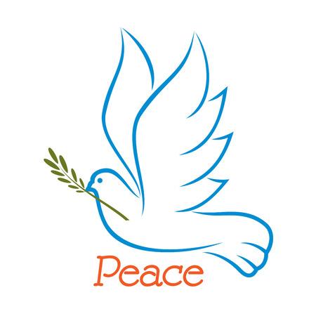 Vliegende vredesduif met olijftak en getogen vleugels in outline schets stijl op een witte achtergrond Stockfoto - 43010739