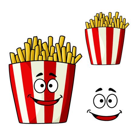 papas fritas: Personaje de dibujos animados papas fritas francés en caja de comida para llevar a rayas con la cara divertida, para el diseño de menú de comida rápida