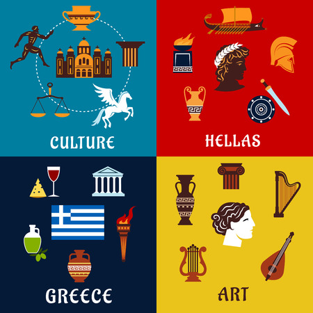 greece: Culture, art and history icons of Greece with traditional symbols such as national flag, olives , amphoras, temples, lyres, torches, mythological heroes, sport games, theatre. Flat style Illustration