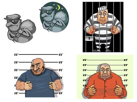Criminal stripfiguren met een dief in masker en zak, rover, gangster maakt een gevangene foto tegen de hoogte grafiek en gevangene in de gevangenis achter de tralies Stock Illustratie